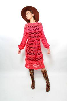 hand made knit dress pinterest | Knit Dress - Vintage 60s/70s Boho a GoGo HOT RED Handknit/Handmade ...