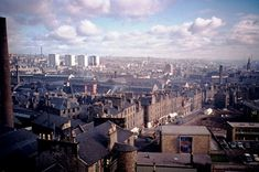 The photograph appears to be taken from the Trades College in Balfour Street and is looking down Hawkhill to the West Port. The chimney on the left belongs to Heathfield Works. On the right is the university campus. Online Scrapbook, Dundee, Historical Photos, Family History, Old Photos, Paris Skyline, Scotland, University, Photograph