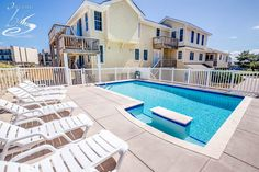 """""""Now and Then"""" has the perfect setup for multiple families who vacation together, but still want their own quality time. 8 bedrooms, 6.2 bathrooms, #Oceanfront Rates from $2,045 to $8,095.  #OBX #OuterBanks #VacationRental #NagsHead"""