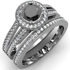 #blackdiamondgem 1.25 Carat (ctw) 14k White Gold Round White And Black Diamond Ladies Split Shank Halo Style Bridal Engagement Ring Set With Matching Band 1 1/4 CT (Size 7) by DazzlingRock Collection - See more at: http://blackdiamondgemstone.com/jewelry/wedding-anniversary/bridal-sets/125-carat-ctw-14k-white-gold-round-white-and-black-diamond-ladies-split-shank-halo-style-bridal-engagement-ring-set-with-matching-band-1-14-ct-size-7-com/#!prettyPhoto