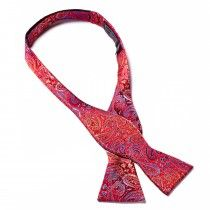 Bruno Piattelli Self Tie Silk Bow Tie, Paisley with Red and Blue