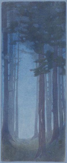 Pines, Bertha Boynton Lum, 1912, Color woodcut, 13 15/16 x 5 5/8 in.