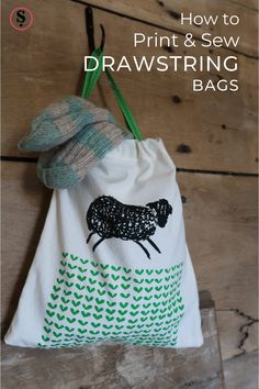 Drawstring bags are great for storing children's clothes. Tidy socks into a bag and hang it from a hook for easy access. And they're so easy to make! Quickly sew a bag and personalise it with a speedy screen print using a Ready to Print Mini Screen. Design your own image or use one of the prepared designs like this woolly sheep from the Farmyard Collection. One Design, Design Your Own, Underwear Organization, Suitcase Packing, Reusable Tote Bags, Drawstring Bags, Farm Yard, Bag Making, Sheep