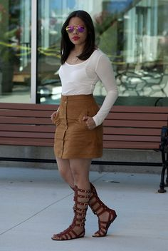 Get this look: http://lb.nu/look/7767420  More looks by Joan Marie: http://lb.nu/drafashionista1  Items in this look:  H&M Suede Skirt, Forever 21 Crop Top, Madden Girl Gladiator   #chic #elegant #street