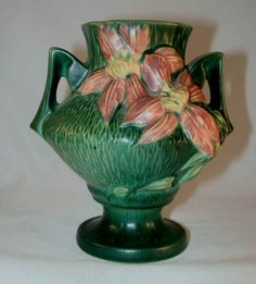 """Rare Roseville Pottery Mid 1940's Green Clematis 188-6"""" Vase"""