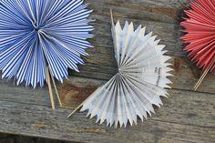 Papierfächer für eine freie Trauung oder wenn es sehr heiß ist - über dawanda zum selbermachen