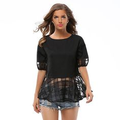 2017 Half Sleeve Black Women's Blouses Clothing Casual Loose Chiffon Bow Shirt Blusas Solid Color Female Tops Plus Size 40548