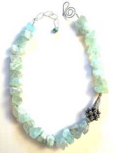 Rough Natural Fluorite Sterling Silver Necklace by Capricedesigns, $102.00 Handmade jewelry. Handmade necklace