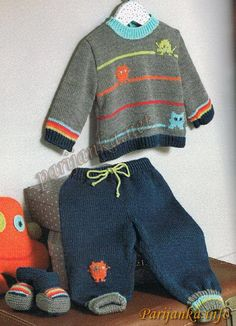 Baby Boy Knitting Patterns, Knitting For Kids, Baby Knitting Patterns, Toddler Girl Dresses, Baby Boy Outfits, Knitted Owl, Filet Crochet Charts, Knit Baby Sweaters, Baby L
