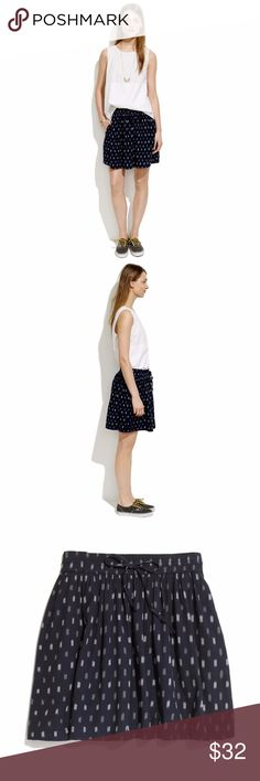"""Madewell Turntable Skirt With its no-fuss drawstring, perfect above-the-knee length and ikat weave, this is the ultimate easy summer skirt. Pack one with a couple of tees for a weekend away.  Elastic waist band with drawstring.  Full mini. 17"""" long.  Cotton. Pockets. Madewell Skirts Mini"""