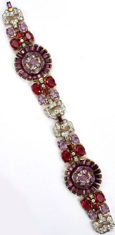 Trifari 'Alfred Philippe' Gold Pave Amethyst and Ruby Floral Bracelet