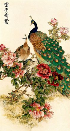 a sample image Japanese Tattoo Art, Japanese Painting, Chinese Painting, Chinese Art, Japanese Art, Peacock Artwork, Peacock Painting, Iphone Wallpaper Video, Lord Krishna Wallpapers