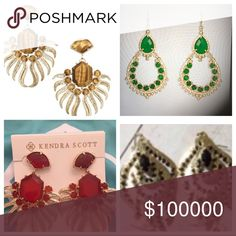 Kendra Scott ISO  ♀️ ISO Kendra Scott Tiger's Eye Fallon's, Red Fallon's, Green Gaia's and Black Paula's. I do have some Rare & HTF pieces to sell or trade for. Kendra Scott Jewelry Earrings