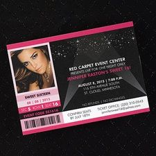 Red Carpet Event Bright White Invitation- Great Sweet 16 , includes photo of our Sweet 16 Girl....Great for a Club Theme! www.dmeventsanddesign.com