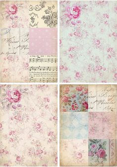 INSTANT DOWNLOAD diGiTAL DoWnLOAds ShaBBY ChIc POsTcArDs FrEnCh CoTtAge stYLe FLoRaL baCKgroUnds FrENch EphEmeRa PoLKa DoTs, No. 153