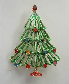 Vtg Xmas Tree Pin Brooch Multi Color Rhinestones Enamel