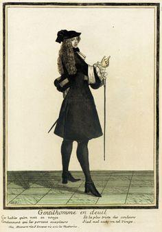 Recueil des modes de la cour de France, 'Gentilhomme en Deuil'  Henri Bonnart (France, 1642-1711)  Jean Baptiste Bonnart (France, 1654-1726)  France, Paris, 1682, bound 1703-1704  Prints  Hand-colored engraving on pape