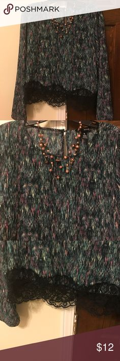 Pretty blouse Lightweight, pretty blouse. Has colors of pink, black, green, and white. Lace bottom all the way around. Peekaboo back and on edge of sleeves. Great condition. Looks great with black tank for layering, jeans and black boots 😊🌷 Aqua Tops Blouses