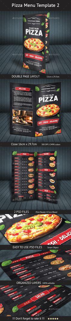Pizza Menu Design A4 and US Letter u2014 Photoshop PSD #pizza - sample pizza menu template