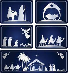 Blue Natividade - ilustração de arte em vetor