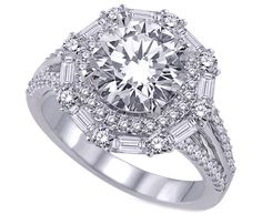 Baguette & Round Diamonds Halo Engagement Ring