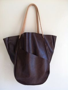 Large Brown Leather Bag - i want!