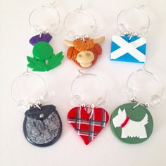 Scottish Wine Glass Charms - Polymer Clay Charms