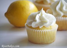 Vanilla Cupcakes filled with lemon curd and topped with lemon cream cheese frosting: 1 cup butter; 4 oz shortening; 4 oz cream cheese; ½ tbsp  vanilla; 8-9 cups of powdered sugar; ½ cup fresh lemon juice; 2-3 tbsp milk.