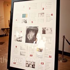 The couple bought a poster frame with openings for pictures and slotted in table assignments. Then they filled the leftover spots with photos from their grandparents' weddings.