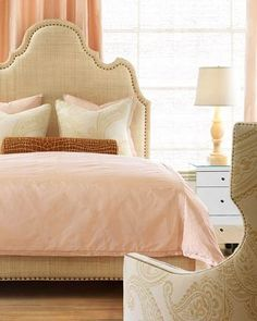 guest room inspiration...such a peaceful neutral palette of linen combined with soft peach and coral for a calm, serene place to unwind <3