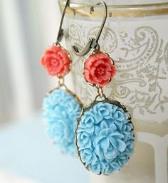 Southwest Earrings by NestPrettyThingsShop on Etsy Handmade Jewelry, Unique Jewelry, Handmade Gifts, Jewelry Design, Polymer Clay Embroidery, Coral Roses, Crystal Rose, Rose Earrings, Coral Earrings