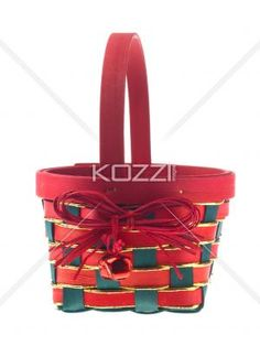 christmas basket. - Christmas basket displayed over white background.