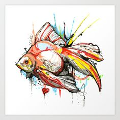 Watercolor tattoo flash done by Davide Capone Tattoo Watercolor Rose Tattoos, Watercolor Fish, Watercolor Animals, Watercolor Paintings, Watercolor Sketch, Flash Art, Tattoo Sketches, Cool Tattoos, Awesome Tattoos