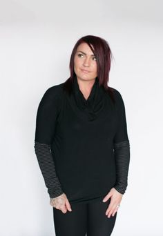 *pre-sale* Cabin Cowl Neck Top - black/charcoal-black stripe (ships in 2 to 4 weeks) - Buttercream Clothing Charcoal Black, Cowl Neck Top, Batwing Sleeve, Fall 2016, Black Stripes, Sleeve Styles, Black Tops, Bamboo, Ships