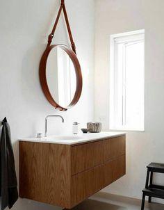 Bathroom Cabinets Jysk badkamer, ronde spiegel van jysk, zwarte kraan en zeeppomp van