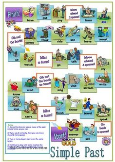 A board game for teaching or revising the past simple tense. Students advance on the board with dice, when they land on a square they are asked to make a sentence using the picture clue and the verb provided. - ESL worksheets