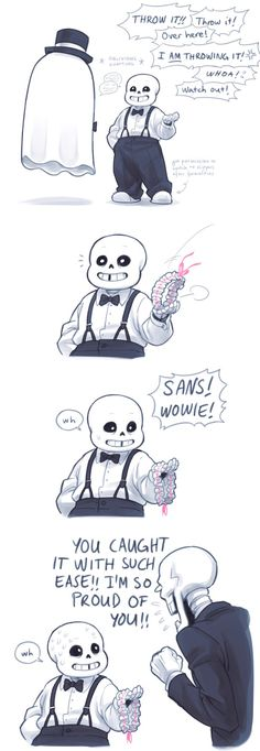 Napstablook, Sans, and Papyrus - comic - (Alphys and Undyne's wedding)