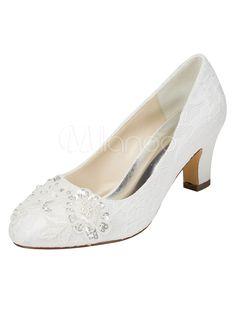 Chaussures de mariage à talons en fausse soie unicolore avec perles mocassin