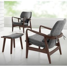 Dobra Mid-Century Modern Grey Fabric Upholstered Club Chair With Sleek Polished Wood Arms In Walnut Finishing