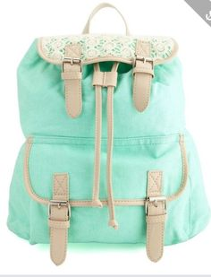 Love this mint green crochet backpack!