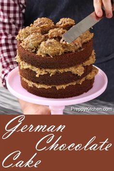 3 layer Moist German Chocolate Cake baked from scratch using extra coconut preppykitchen germanchocolatecake cakes bestcakes howtobakeacake 479914904041607490 Bakers German Chocolate Cake, Homemade German Chocolate Cake, Chocolate Cake From Scratch, Cake Recipes From Scratch, Best Chocolate Cake, Chocolate Recipes, Chocolate Chocolate, Chocolate Coconut Cakes, Original German Chocolate Cake Recipe