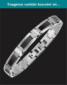 Tungsten carbide bracelet with carbon fiber inlay - 8.5 inches. continues its uncompromising dedication to a never-ending quest for excellence and innovation with the introduction of the Men's Jewelry Collection. Contemporary and bold, the unique alternative metal and rubber designs make these pure, hypoallergenic stainless & tungsten rings, bracelets and necklaces incomparable and most distinctive. Their strong, rugged yet highly stylish impact is both masculine and sophisticated.
