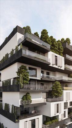 Hotel Design Architecture, Minimalist Architecture, Futuristic Architecture, Facade Architecture, Residential Architecture, Amazing Architecture, Residential Building Plan, Residential Complex, Modern Villa Design