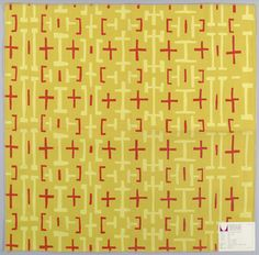 @hermanmiller Alexander Girard Regular pattern of linear shapes in light yellow and red on an orange-yellow ground.
