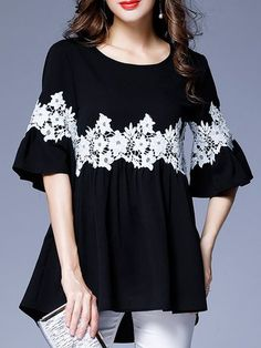 A-line Crochet-trimmed Daytime Chiffon Tunics - Pakistani dresses Pakistani Dresses Casual, Pakistani Dress Design, Casual Dresses, Fashion Dresses, Winter Dresses, Kurta Designs Women, Blouse Designs, Dress Designs, Stylish Dresses For Girls