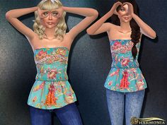 The Sims Resource: Placement Floral Peplum Top by Harmonia • Sims 4 Downloads