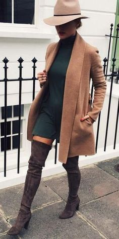 Green dress, camel sweater, hat, and over the knee boots  Street style, street fashion, best street style, OOTD, OOTD Inspo, street style stalking, outfit ideas, what to wear now, Fashion Bloggers, Style, Seasonal Style, Outfit Inspiration, Trends, Looks, Outfits.