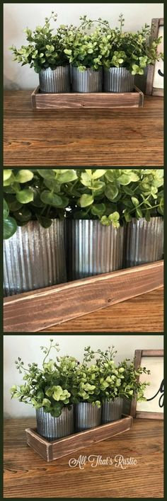 Would love to have this in my livingroom. Norah Zinc Vases, Rustic Metal Decor, Rustic Home Decor, Table Decor, Metal Decor, Farmhouse Table Decor, Home Decor, Wedding Centerpiece #rustic #country #plants #metal #wood #ad