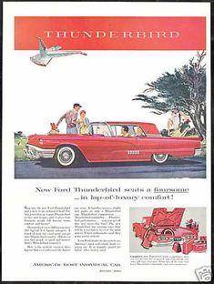 Red Ford Thunderbird Car Vintage (1958)