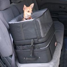 3-in-1 Stow Car Seat, gives a boost, keeps him safe and comfortable, folds into a dog bed, and includes a compartment for all his toys, water, and other gear. I would definitely buy this if I had the $119.00 to spend on a car seat!